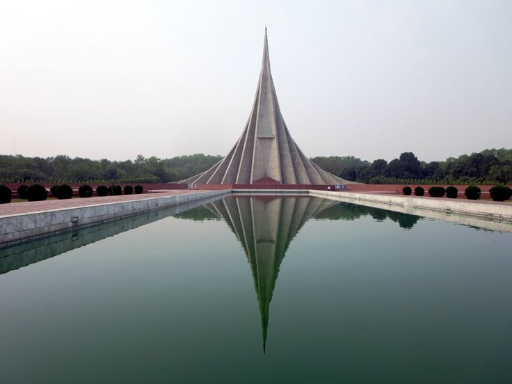 The National Martyrs Monument, 30 kilometers northwest of Dhaka, Bangladesh, commemorates the millions who died in the 1971 War of Independence.