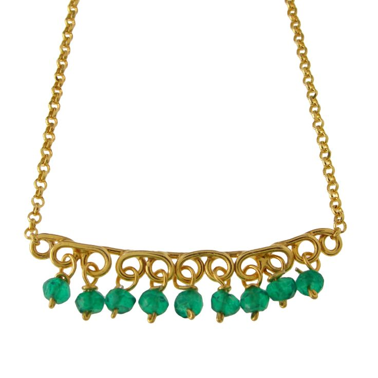 Emmanuela.gr - Gold Plated Pendant with Green Onyx Stones.