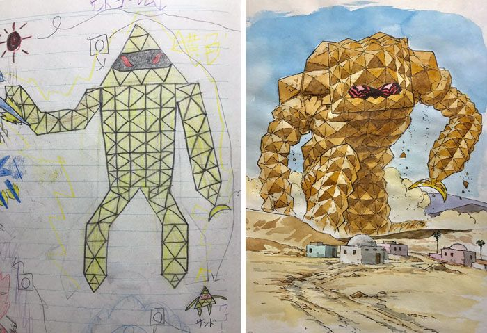 Sand Golem Dad turns son's drawings into anime characters!
