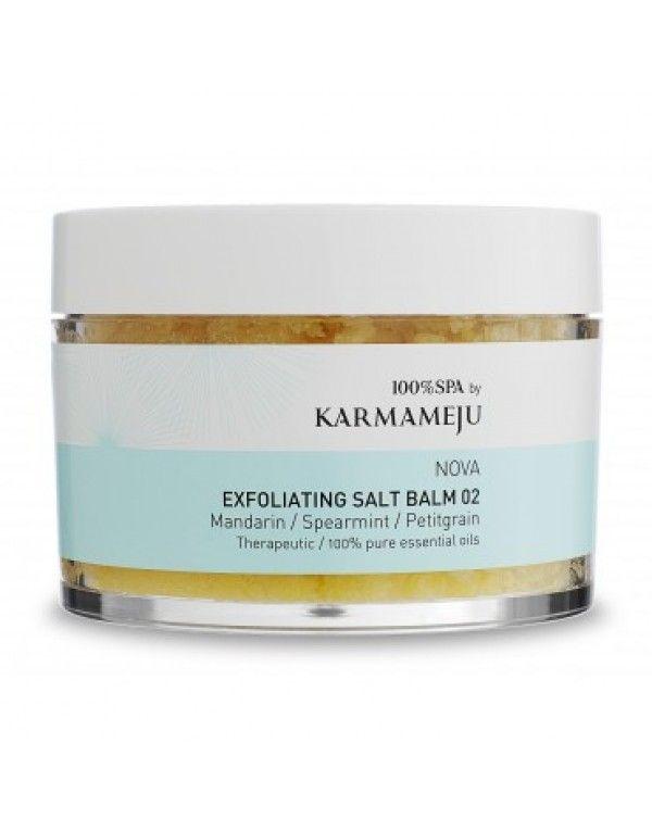 Karmameju NOVA Exfoliating Salt Balm, 450 ml Denne unike skrubben vil etterlate huden silkemyk, ren og gjennomfuktet! En nøytraliserende og dyptrensende kroppspleie for sensitiv hud, egnet for bruk under graviditet. Mineralberiket Himalaya-krystallsalter er blandet med næringsrike og regenererende argan- og sea buckthorn-olje (tindved).
