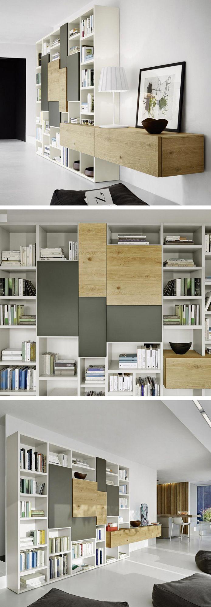 Das Livitalia Bücherregal C53 Hat Offene Und Geschlossenen Elemente Mit  Unterschiedlichen Stärken. #Bücherregal #