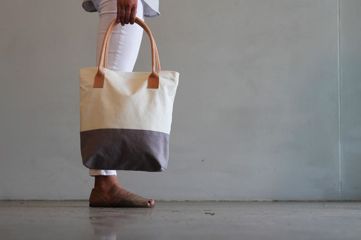 Canvas tote bag with natural leather handles