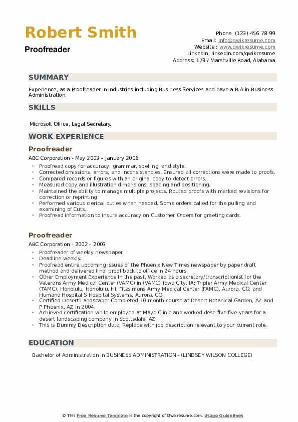 Proofreader Resume Samples Qwikresume In 2020 Sample Resume Templates Resume Proofreader
