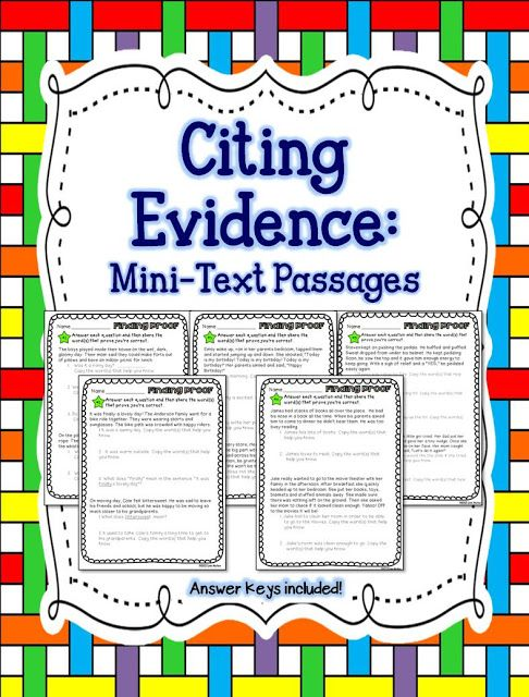 Citing Evidence - Finding Proof - Inferring Word Meaning - Character Traits & Feelings 1st-3rd grade