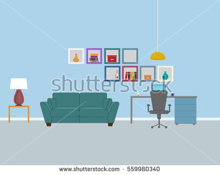 Dorm room interior design - Vector illustration