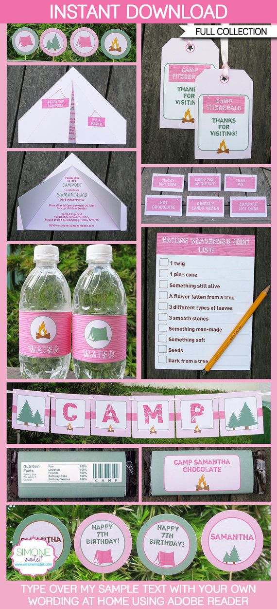 Girl Camping Birthday Party - INSTANT DOWNLOAD full Printable Collection + Invitation - EDITABLE text that you personalize with Adobe Reader