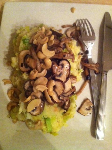 stamppot met prei, paddenstoelen en cashewnoten mmmmm