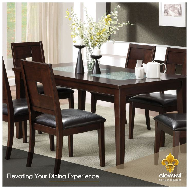 With its classic form and contemporary design, this rustic dining table set in the dark walnut finish is absolutely perfect for any modern home. Visit www.giovanniboutique.com and get custom crafted furniture at your doorstep. #BoutiqueFurniture #CustomCrafted #HomeDecor #Furniture #ModernHome #DiningTable