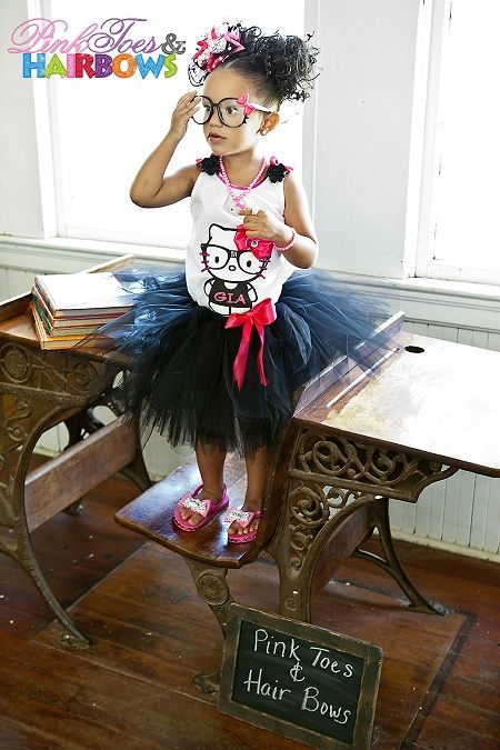 Shut up! How freaking cute!! Hello kitty tutu Hello kitty party hello kitty birthday Nerd Kitty Tutu Set