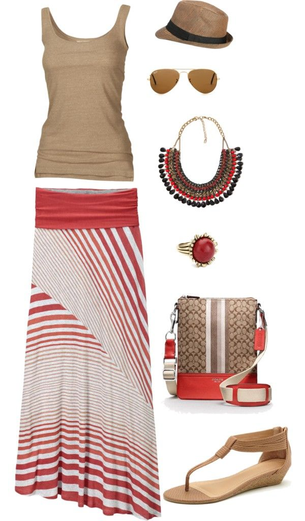 """Color Combo: Beige and red"" by jenpin12 on Polyvore- the whole outfit is great but the necklace, skirt and fidora sold me!!!"