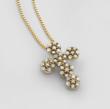 Gargantilha em Ouro Amarelo com Pingente de Crucifixo com 13 Pontos de Diamantes | Guest Club