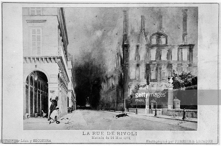 The fire at the Tuileries, next to the Rue de Rivoli, during the Paris Commune (1871).