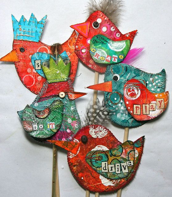 Word birds, inspired by Ann Ellis in Cloth Paper Scissors Jan/Feb 2012