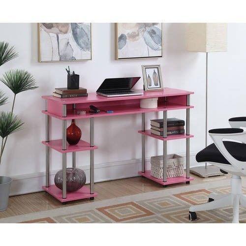 Modern Computer Desk Student Workstation Home Table Desktop Office Writing Pink #ModernComputerDesk #Modern