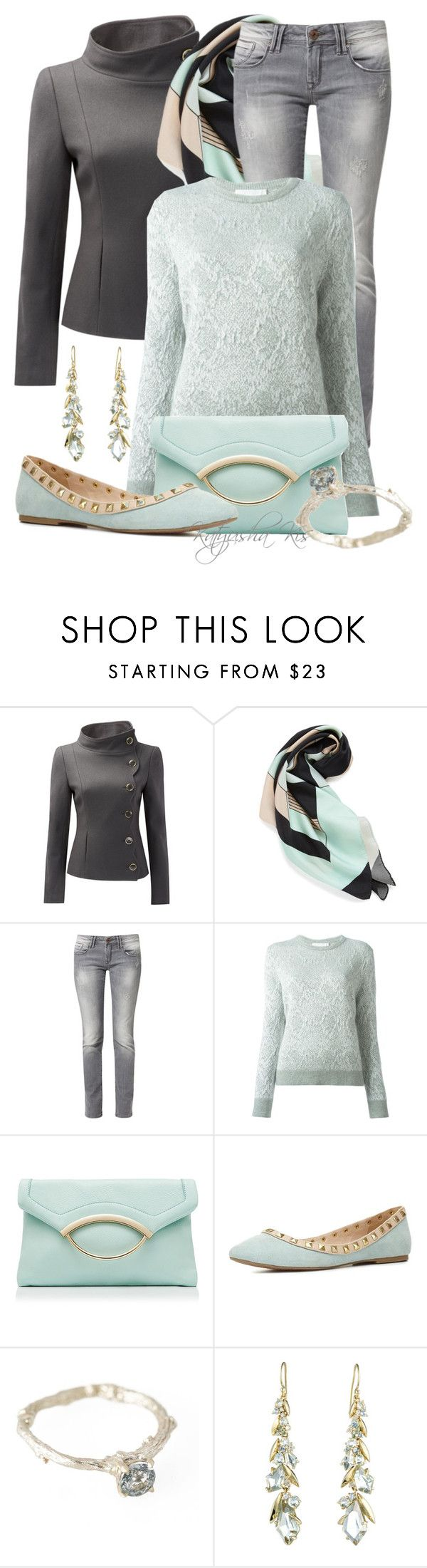 """Mint & Gray with a side of flats"" by katyusha-kis ❤ liked on Polyvore featuring Louisa Parris, Mavi, Christian Wijnants, Forever New, Charlotte Russe, Michelle Oh and Alexis Bittar"