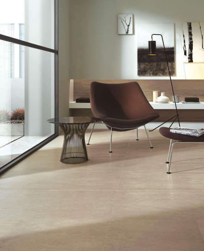 Concept-laattamalliston värimaailma liikkuu neutraaleissa sävyissä, vaaleasta beigestä mustanharmaaseen. Värisilmä, http://kauppa.varisilma.fi/laatat/lattialaatat/concept/ #lattialaatta #olohuone