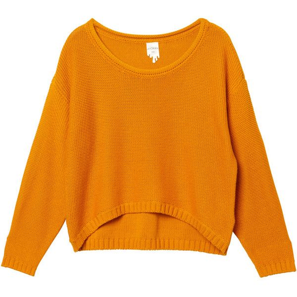 Monki Peace knit ($16) ❤ liked on Polyvore featuring tops, sweaters, shirts, jumpers, slouch sweater, summer shirts, orange sweater, knit shirt and knit sweater
