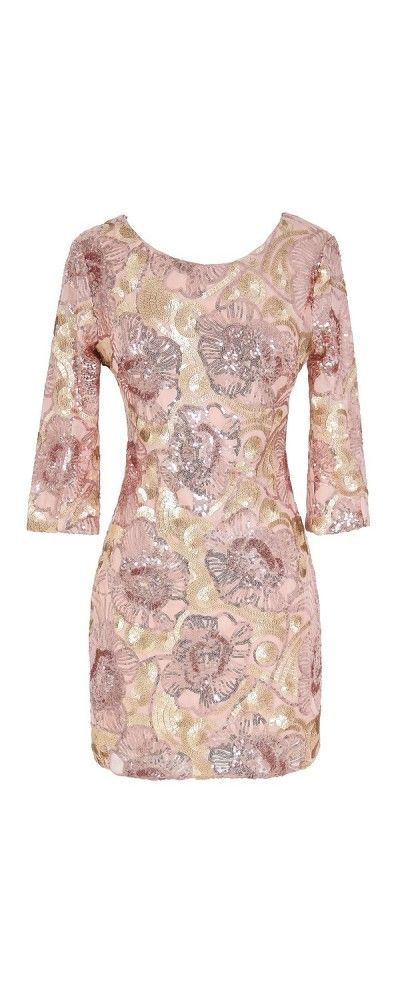 Rose Gold Floral Sequin Dress - would probably be better on someone taller than me, but it's so pretty!