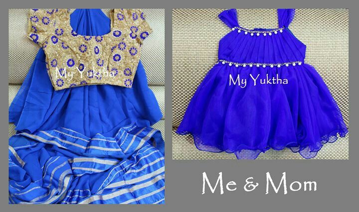 Mother Daughter duo in ink blue