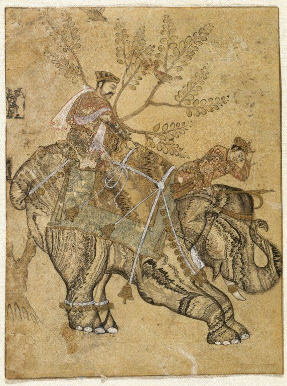 Stalling Elephant, mid 17th century. Ink, gold and watercolor on paper