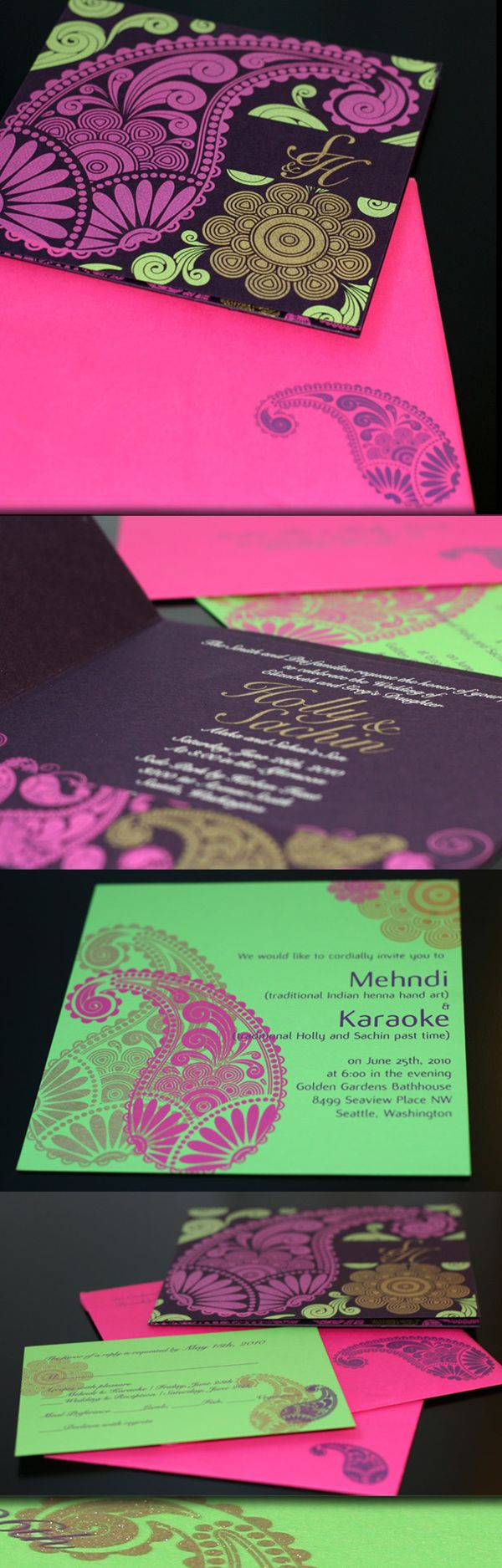 Neon Indian wedding invitations with paisleys | Indian wedding card by Pradnya Phadke, via Behance