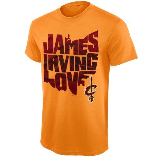 NBA Cleveland Cavaliers State Outline T-Shirt ΓÇô Gold