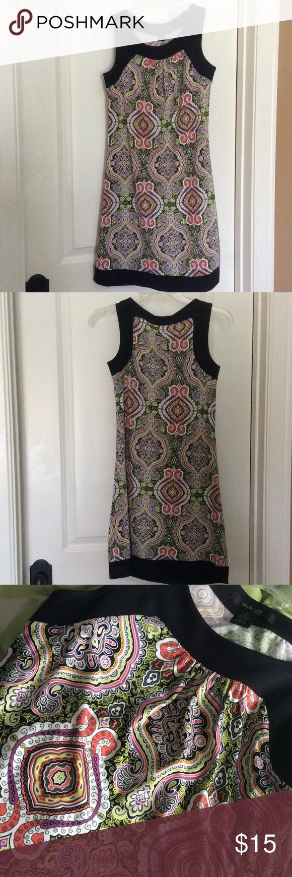 Style & Co. Patterned Dress Petite black and green patterned dress by Style & Co. Silky soft material! Style & Co Dresses