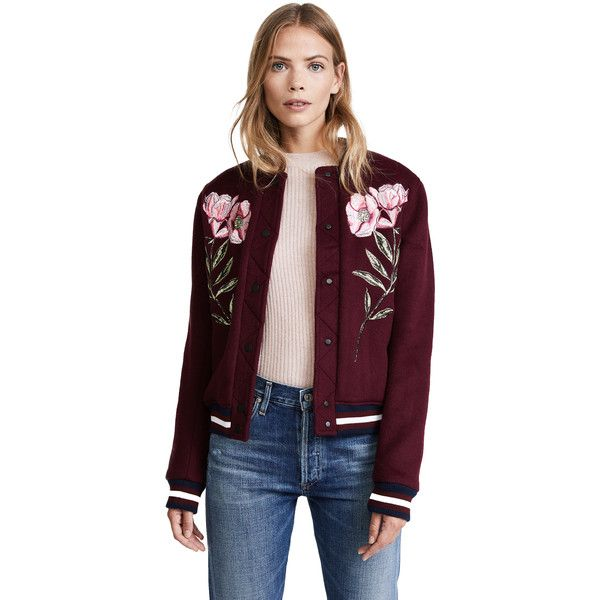 Parker Pacifico Jacket (794 AUD) ❤ liked on Polyvore featuring outerwear, jackets, elixir, parker jacket, embroidered jacket, flower jacket, striped jacket and sporty jacket