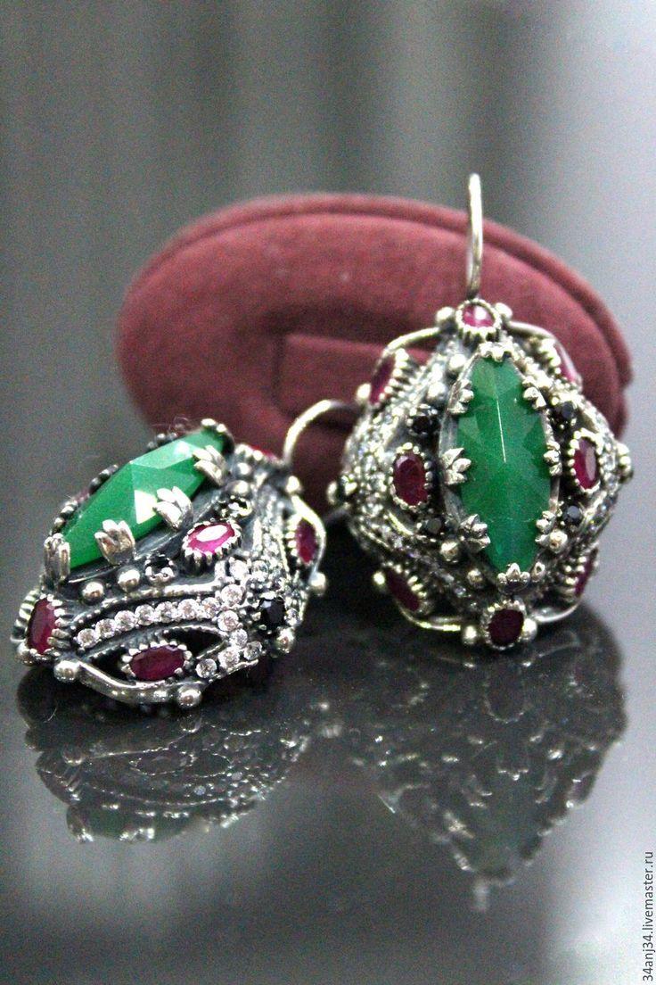"""Купить Серьги """"Ночные Огни 2"""" - зеленый, серьги, серьги с камнями, серьги с изумрудами"""