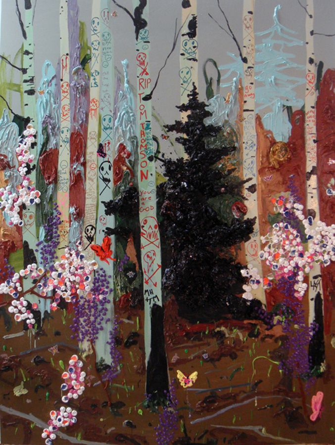 Kim Dorland. R.I.P. Tom Thomson - oil, acrylic, spray paint and ink on panel - 96 x 72 in. - 2009