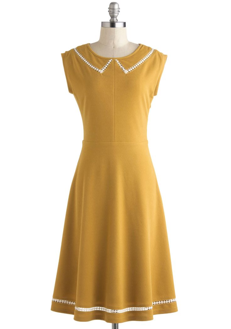 Author Outings Dress - Long, Yellow, White, Solid, Peter Pan Collar, Casual, A-line, Cap Sleeves, Collared, Vintage Inspired, Nautical