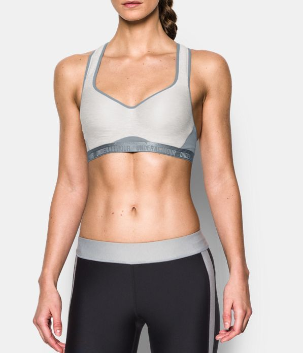 Women's UA Armour High Bra, AIR FORCE GRAY HEATHER, Front