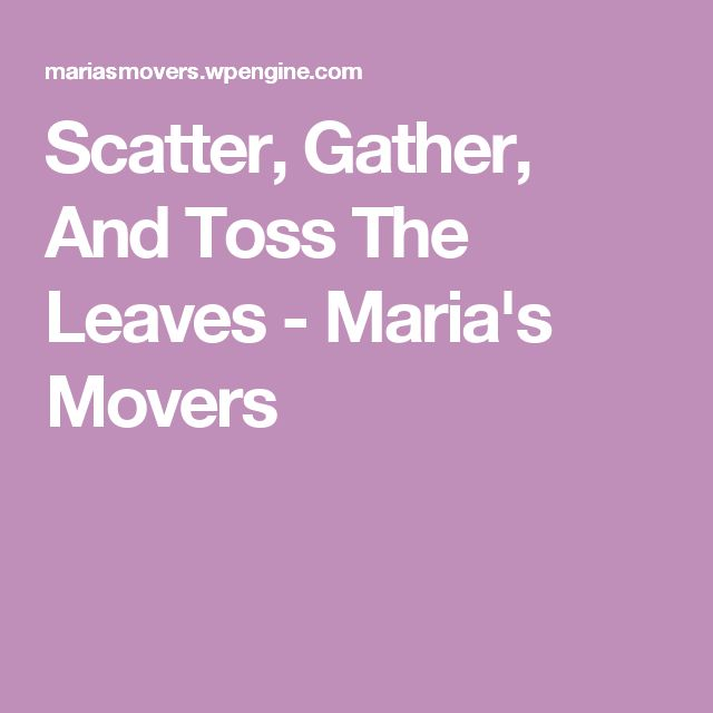 Scatter, Gather, And Toss The Leaves - Maria's Movers