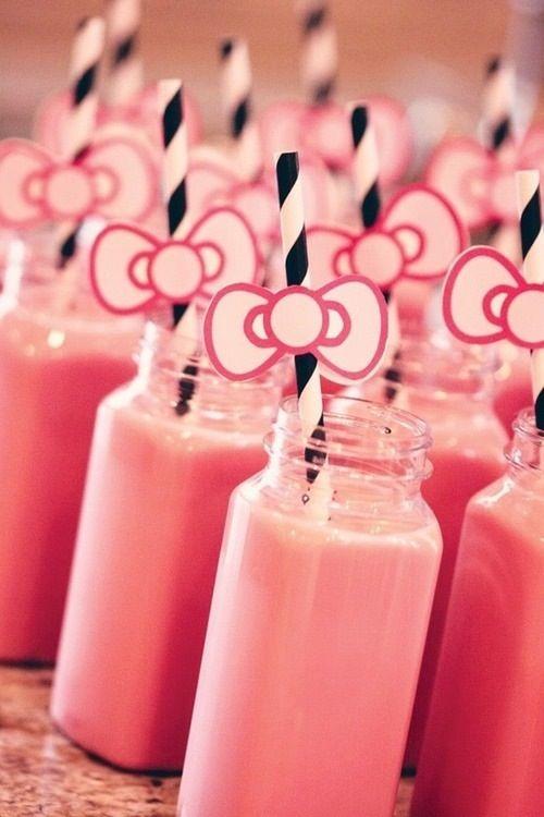 glass mason jars, strawberry milk, straws with a bow - Hello Kitty Party
