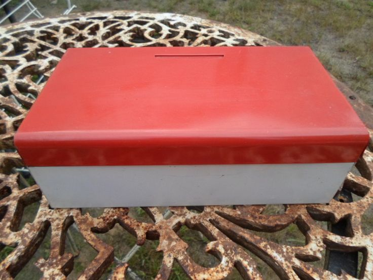 Vintage The American Home Menu Maker Recipe Metal Box 1940s to 1950s Red and White Retro Kitchen Decor by KimsKreations17 on Etsy $44.99