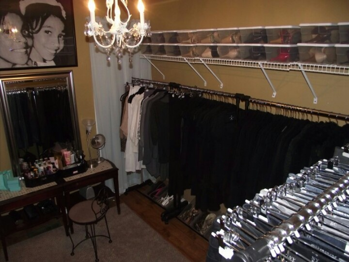 Diva Room. Turned Small Bedroom Into Closet. Add Poles, Wire Shelving And  Felt