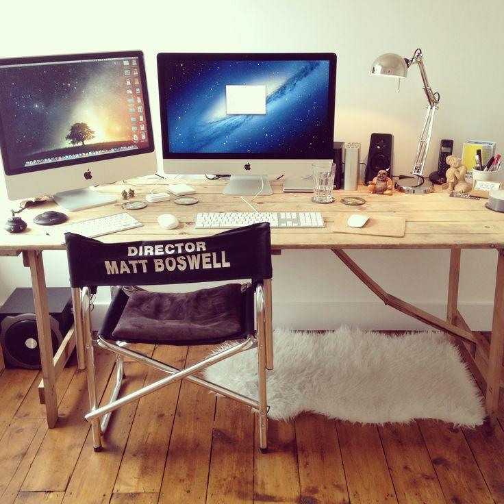 The ultimate home office. Apple iMac setup. Rustic desk
