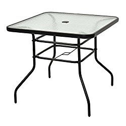 Tangkula 31 1/2″ Square Tempered Glass Metal Table Outdoor Garden Pool Table