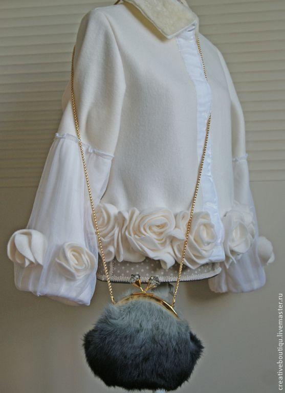 Купить Жакет нарядный, мех, бархат, фатин и розы. - белый, свадебный наряд, жакет для невесты