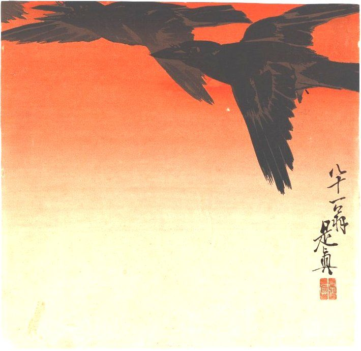 """Crows Fly by Red Sky at Sunset. Portfolio/Series: from the Series Hana Kurabe. Woodblock color print. Meiji Period. Signed: """"Zeshin"""", Asian Art Museum Location: Brooklyn Museum."""