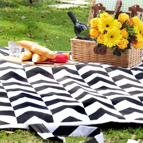 Chevron Black and White Picnic Blanket