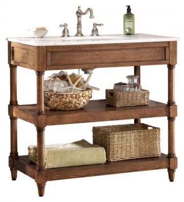This is Montaigne Oak Bathroom Vanity for $469 - a dead ringer for Restoration Hardware's more expensive washstand.