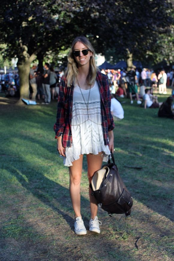 Festival Fashion At The Grove, white flowy mini paired with unbuttoned flannel. perfect for a music fest