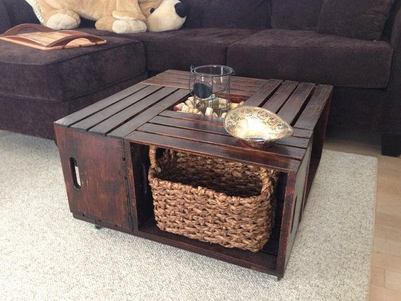 Wooden Crate Coffee Table By Olivabella On Etsy 400 00 Oooh Dad This Would Be Easy To Make A Few Of My Favorite Things Pinterest