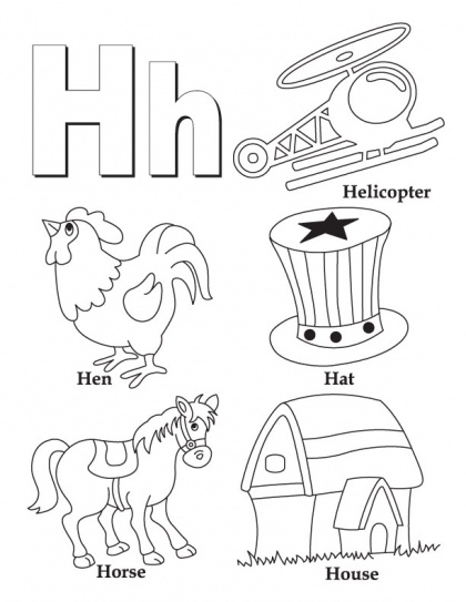 H Is For Helicopter Alphabet Coloring Page
