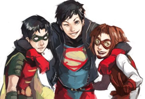 bartallen:  batromance:  samarecarm:  colour-me-orange asked: YOU STILL TAKING REQUESTS/SUGGESTIONS?  If so, would you draw a group shot of Tim, Kon and Bart?  Also - You're awesome, just sayin'!  Thank you for the kind comment and for requesting! I love these kids so I had a lot of fun drawing this, even though all the anatomy/colors/usual stuff need a lot of work. Hope you rike eet!  boooys  also fucking adorable the bart gods have been kind to me  AW YES YES YES!!! That's just PERFE...