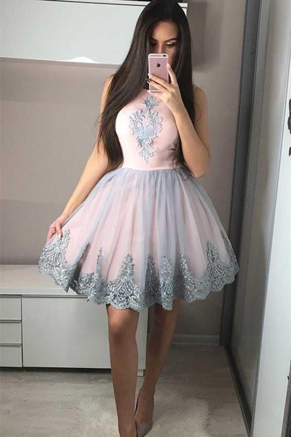 Cute A-Line Round Neck Pink Homecoming Dress with Appliques, Short Prom Dress N1562