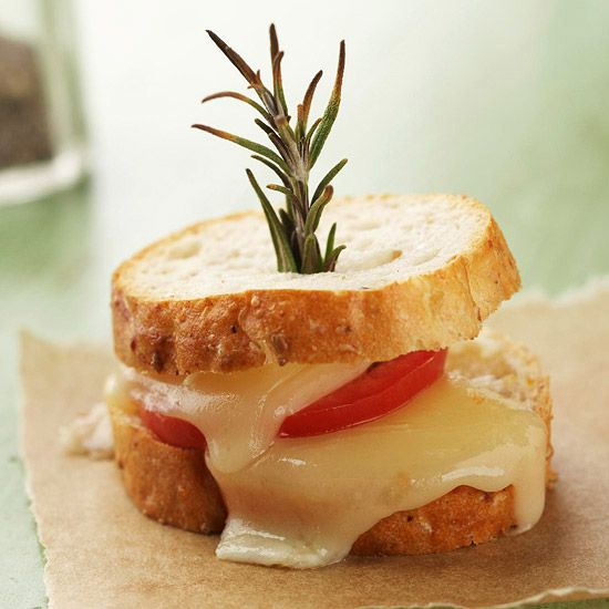 Rosemary Bruschetta Stacks: Skewer mini sandwiches of French bread ...
