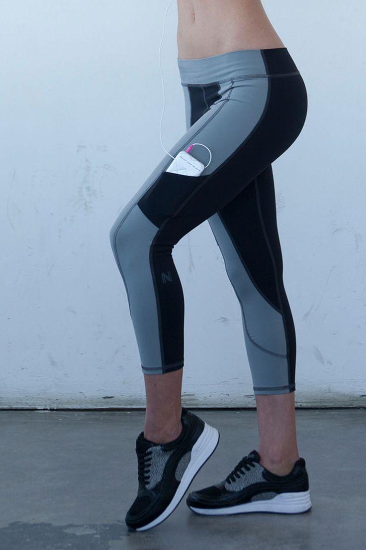 2Tone Hidden Pocket Yoga Capri - Black from Nina B Roze