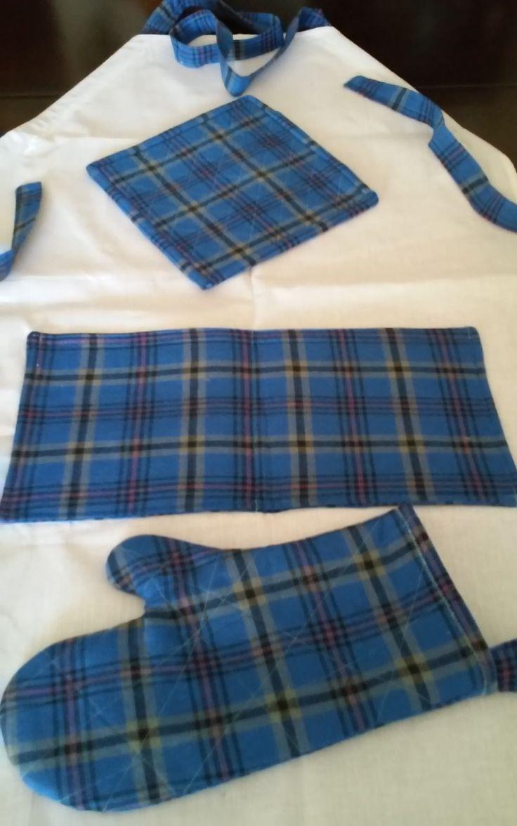 White tea apron - Blue And White Tea Towel Apron Set